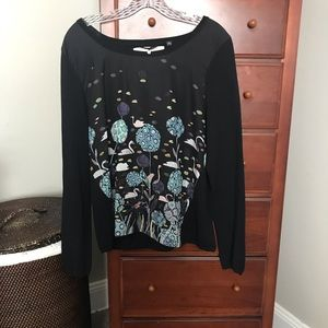 Anthropologie Silk front Cashmere sweater